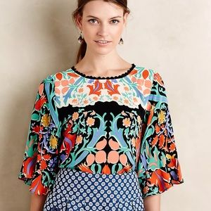 ANTHROPOLOGIE Folkart Ruffle Kimono Top Silk SZ 6